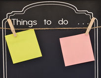 Things to do. On blackboard Stock Images