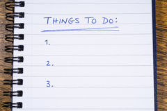 Things To Do Stock Photo