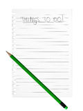 Things to do list background, green pencil over white Royalty Free Stock Image