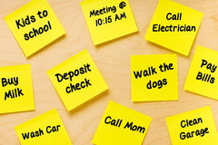 Things To Do Post-it Memo Tasks Male Stock Photos