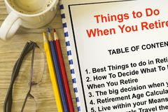 Things to do when you retire concept. With subject on a cover page Stock Photo