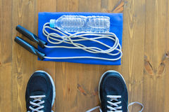 Things to practice with skipping rope. Items for sports men, On the floor Royalty Free Stock Images