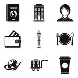 Things for travel icons set, simple style Royalty Free Stock Photography