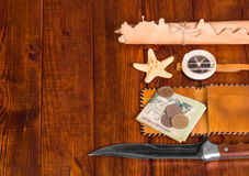 Things for travel on wooden table Royalty Free Stock Image