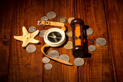 Things for travel on wooden table Stock Photo