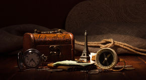 Things for travel on wooden table Royalty Free Stock Images