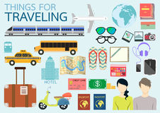 Things for traveling. Couple tourists with things for their traveling,honey moon,vacation/holiday,summer vacation.Things for working remotely Stock Photo