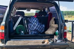 Things in the trunk of the car. Are prepared for transportation and travel on vacation Royalty Free Stock Photography