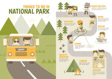 Things you enjoy in national park. Infographics cartoon character about things you enjoy in national park Stock Image