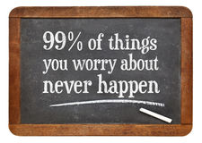 99% of things you worry about - blackboard concept royalty free stock photos