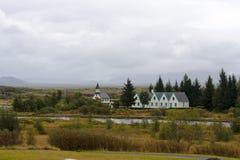 Thingvallakirkja, una delle molte chiese islandesi Immagine Stock