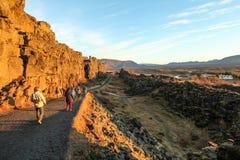 Thingvellir国家公园,金黄圈子游览,在冰岛 免版税库存照片