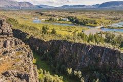 Thingvellir谷-冰岛。 库存图片