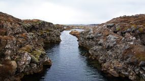 Thingvellir clear water in submerging rifts in Iceland Royalty Free Stock Image