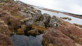 Thingvellir clear water in submerging rifts in Iceland Royalty Free Stock Photography