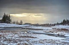 Thingvellir durch den Fluss Lizenzfreies Stockbild
