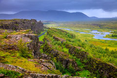 Thingvellir National Park rift valley. In Iceland where North American and Eurasian tectonic plates separate Stock Photography
