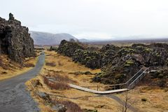 Thingvellir National Park. In between two plate tectonics: Europe and America in Thingvellir National Park, Iceland Royalty Free Stock Images