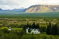 Thingvellir national park valley near Thingvallavatn lake Royalty Free Stock Image