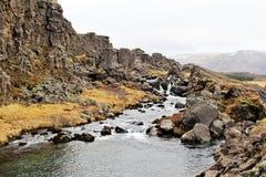 Thingvellir National Park. Waterfall in between two plate tectonics: Europe and America in Thingvellir National Park, Iceland Royalty Free Stock Photo