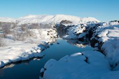 Thingvellir National Park in winter, Iceland. Thingvellir National Park in winter, snow capped hills and mountains, Iceland Royalty Free Stock Image