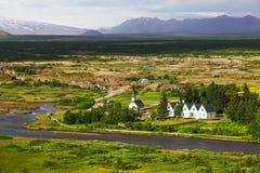 Thingvellir nationalpark - berömt område i Island Arkivfoton