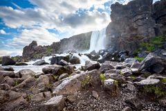Thingvellir - rift valley in Iceland where North American and Eu. Rasian Plates moves in opposite directions Stock Photography