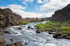 Thingvellir - rift valley in Iceland where North American and Eu. Rasian Plates moves in opposite directions Royalty Free Stock Photos