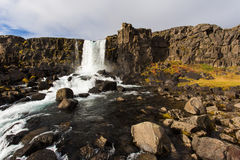 Thingvellir-Wasserfall Island Lizenzfreies Stockbild