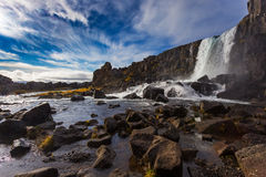 Thingvellir waterfall. Autumn landscape Royalty Free Stock Photography