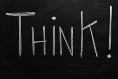 Think!. The word THINK! written on a chalk board stock photography