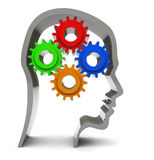 Think. Abstract 3d illustration of human head outline with gear wheels inside Royalty Free Stock Image