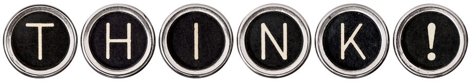 Think!. Old, scratched chrome typewriter keys with black centers and white letters spelling out THINK.  Isolated on white with clipping path Royalty Free Stock Photography