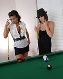 Think about it. Two women ready to play Stock Photos