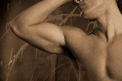 Think. Male body expressing thought Royalty Free Stock Photography