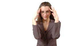 Think. Business woman puts her hands to her head to think. Or could be a head ache coming on. This is the 320,000th image online stock image