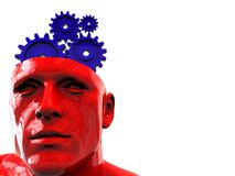 Think. Abstract 3d illustration of head with gear wheels inside, think concept Stock Photography