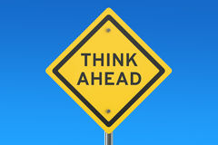 Think Ahead road sign Stock Photos