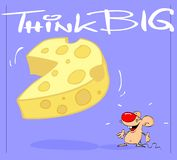 Think big. Mouse and cheese postcard with message Stock Image
