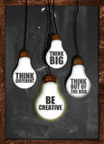 Think big , be creative. Think outside the box background Stock Images