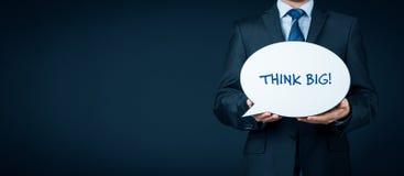 Think big motivation. Think big business motivational concept. Businessman motivate to big goals stock photos