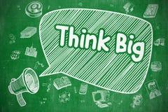 Think Big - Cartoon Illustration on Green Chalkboard. Stock Photography