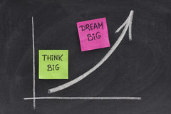 Think big, dream big concept on blackboard stock photography