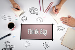 Think Big Faith Attitude Inspiration Optimism Concept. The meeting at the white office table. Royalty Free Stock Photography