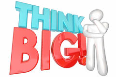 Think Big Huge Ideas Potential Dream Massive Potential Thinker. 3d Illustration stock illustration