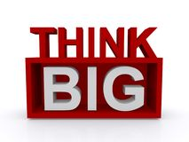 Think big. Illustration of the concept thinking big using text in uppercase letters for 'think big' arranged as a red sign board, white background Stock Image