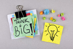 Think Big / Motivational Business Phrase Note. Motivational phrase note concept background Royalty Free Stock Photos