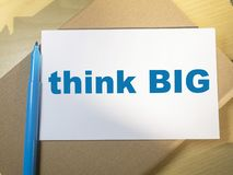 Think Big, Motivational Words Quotes Concept. Think Big, business motivational inspirational quotes, words typography lettering concept royalty free stock photo