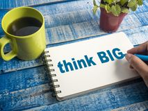 Think Big, Motivational Words Quotes Concept. Think Big, business motivational inspirational quotes, words typography lettering concept stock images