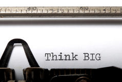 Think Big. The typed words 'think big' printed with an old typewriter stock images